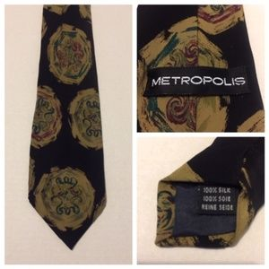 Metropolis Men's Neck Tie 100% Silk Made in Italy